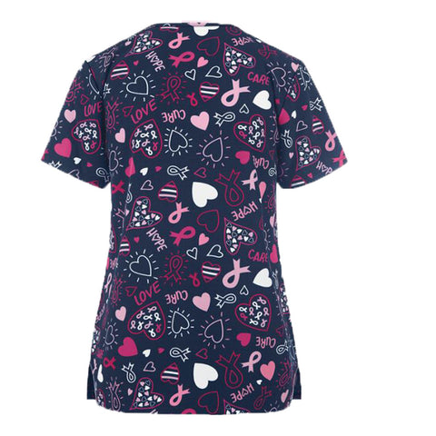 Pink Ribbon Pulse Stretch Scrub Top
