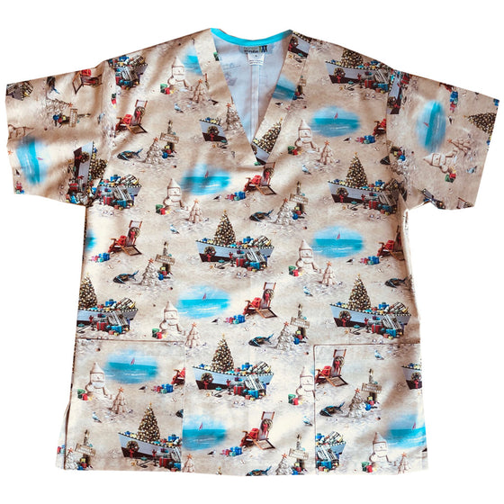 Sandy Claus Men's Custom Scrub Top