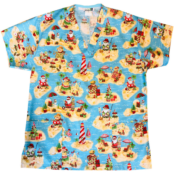 Santa on Holiday Men's Custom Scrub Top