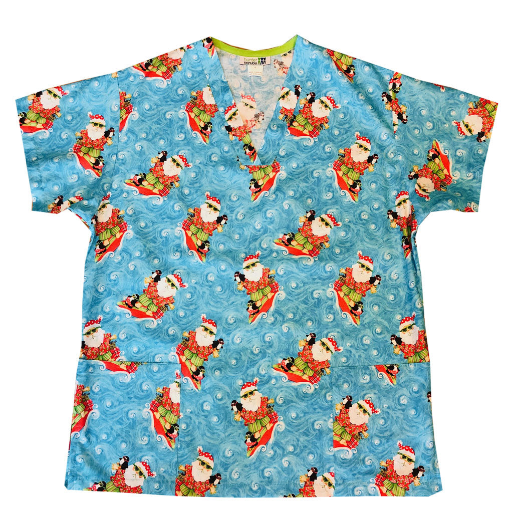 Surfing Santa Men's Custom Scrub Top