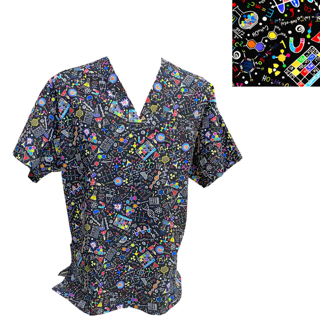 Custom Made UNISEX Patterned Pocket Scrub Top- XS to XL