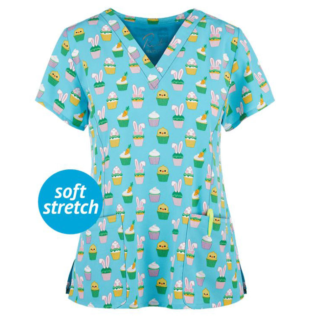 Easter Bunny Cakes Stretch Scrub Top