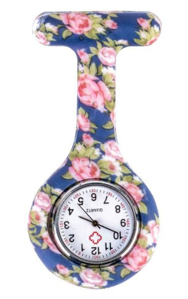 Blue Flower Print Nurse Fob Watch