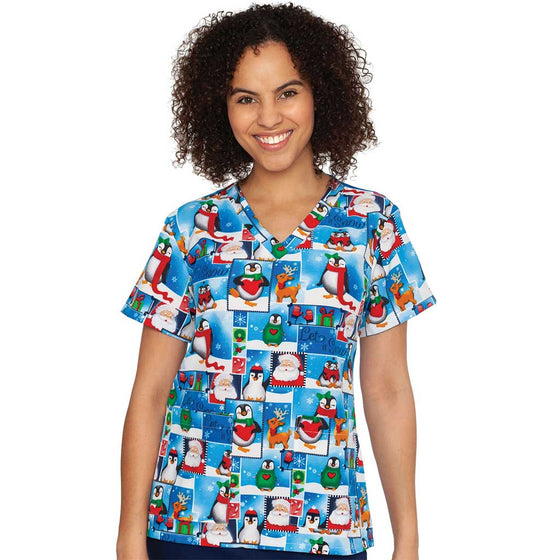 Medcouture Christmas Scrub Top- Let it Snow