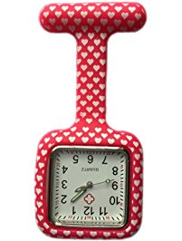 Pink Hearts Square Nurse Fob Watch