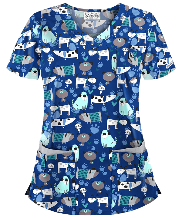 Playful Puppies Patterned Scrub Top