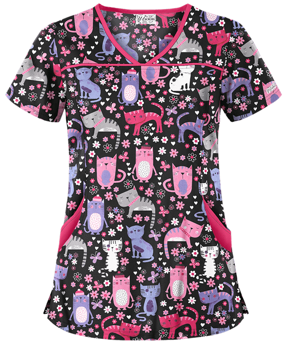 Cats At Play Patterned Scrub Top