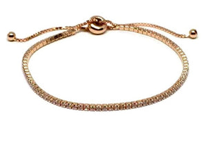 Rose Gold Veremeil Pull Bracelet with CZ's:(BRGT4605)Also Gold Bracelet Athena Designs Rose Gold :(BRGT4605)