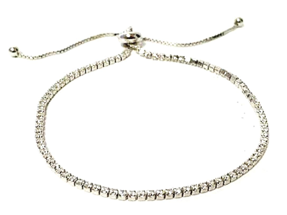 Sterling Silver Crystal Pull Bracelet with CZ's (BST4605): Also in Oxidized Sterling Bracelet athenadesigns FINISH: STERLING SILVER (BST4605)