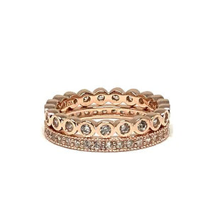 2 Stack Crystal Ring: Rose Gold Vermeil (RRG2/455) Rings athenadesigns