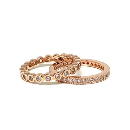 2 Stack Crystal Ring: Rose Gold Vermeil (RRG2/455) Rings athenadesigns Size 6: RRG2/455/6