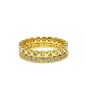 2 Stack Crystal Ring: Gold Vermeil (RG2/455) Rings athenadesigns Size 6:RG2/455/6