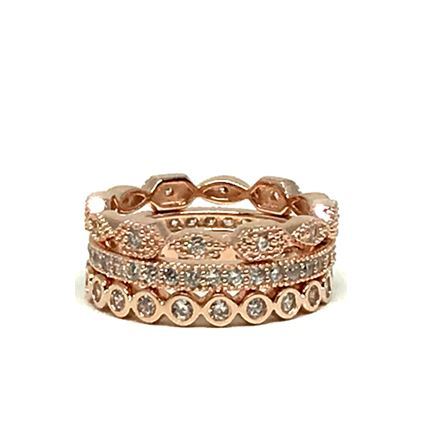 3 Stack Ring: Rose Gold Vermeil (RRG3/455) Rings athenadesigns Size 6: RRG3/455/6
