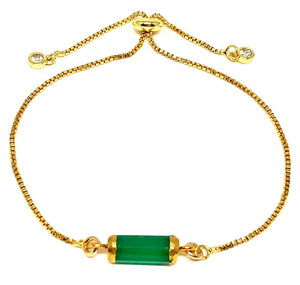 Barrel Pull Chain Bracelet: Green Onyx (PBT749GO) Fashion Bracelet athenadesigns Default Title