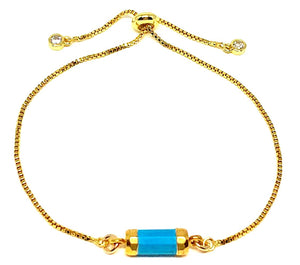 Barrel Pull Chain Bracelet: Turquoise (PBT749TQ) Fashion Bracelet athenadesigns Default Title