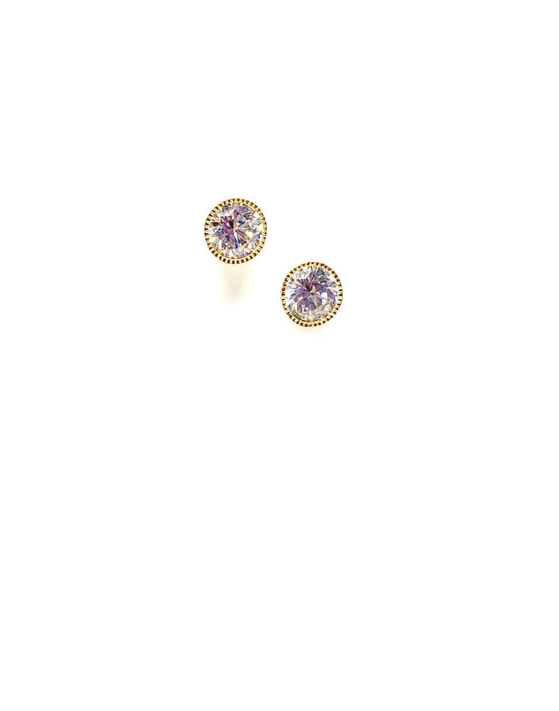 CZ Bezel Stud: 6mm: (ERGP465/6): Also Rose Gold Earrings athenadesigns