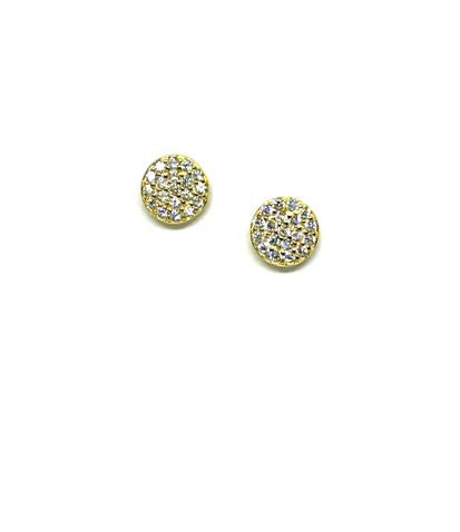 Stud Earring: Micro Pave Disc Gold Vermeil (EGP4650/S) Also Rose Gold Vermeil Earrings athenadesigns Gold- EGP4650/S