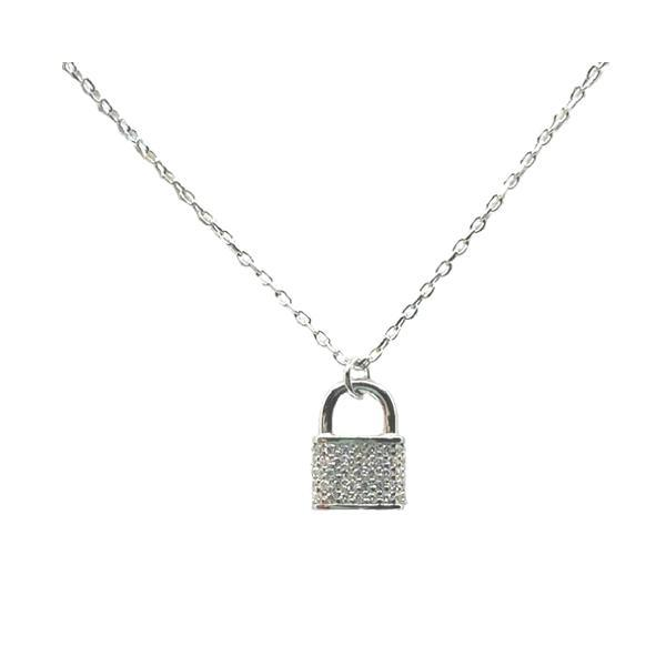 Lock: Pave Necklace: Sterling Silver (NCP45LCK) Necklaces athenadesigns
