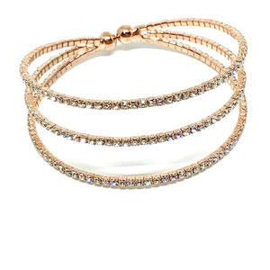 Rose Gold Crystal Cuff Bracelet (BRG3/405) Fashion Bracelet athenadesigns Rosegold