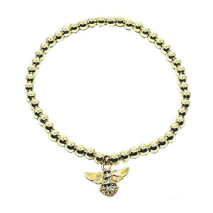 Beaded Bracelet: Gold Plated With Bumble Bee Charm (BG45BEE) Fashion Bracelet athenadesigns BG45BEE