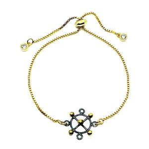 Pull Chain Bracelet: Mixt Metal Compass Gold Plated Chain (PGBT/CMPS) Bracelet athenadesigns