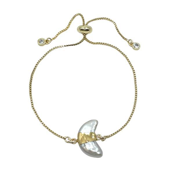 Pearl: Crescent Shape on Pull Chain Bracelet (PGBT438) Bracelet athenadesigns