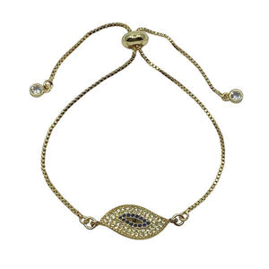 Pull Chain Bracelet: Large Evil Eye: Gold: Also Silver (PGBT4685EE) Fashion Bracelet athenadesigns