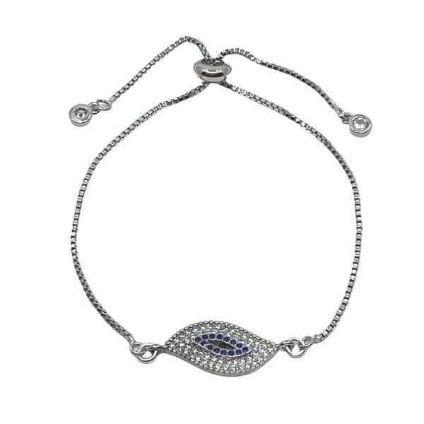 Pull Chain Bracelet: Large Evil Eye: Silver: Also Gold (PBT4685EE) Fashion Bracelet athenadesigns