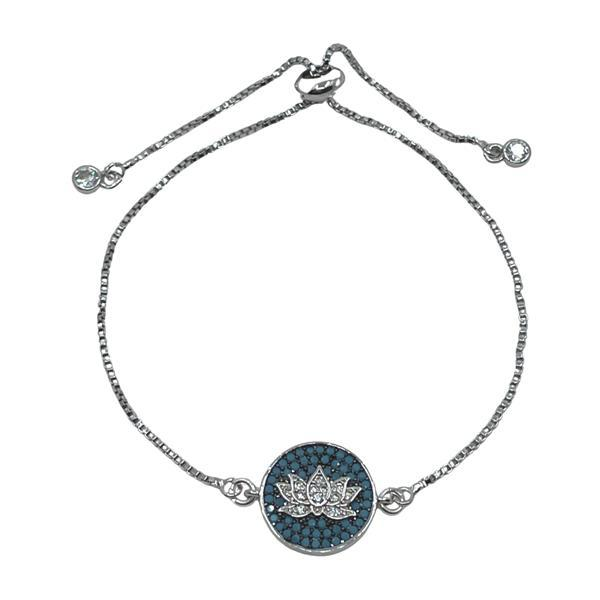 Lotus Mosaic Pull Chain Bracelet: Silver Plated FACEBOOK athenadesigns