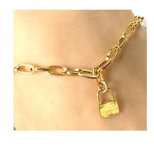 Load image into Gallery viewer, Link Gold Plated Bracelet With Small Lock Charm (PBCG40LCK) Bracelet athenadesigns