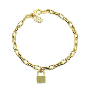 Link Gold Plated Bracelet With Small Lock Charm (PBCG40LCK) Bracelet athenadesigns
