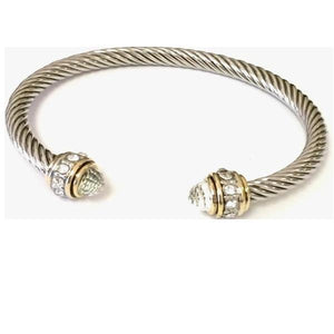 Cable Bracelet with Pave Stone Endcap: Clear (B4057C) Fashion Bracelet athenadesigns Silver/Clear