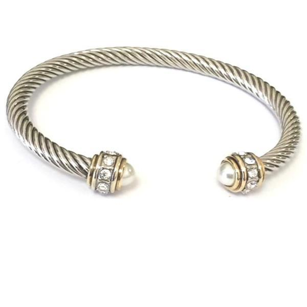 Cable Bracelet with Pave Stone Endcap: Pearl (B4057W) Fashion Bracelet athenadesigns Silver/Pearl