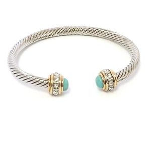 Cable Bracelet with Pave Stone Endcap: Turquoise (B4057TQ) Fashion Bracelet athenadesigns Silver/Turquoise