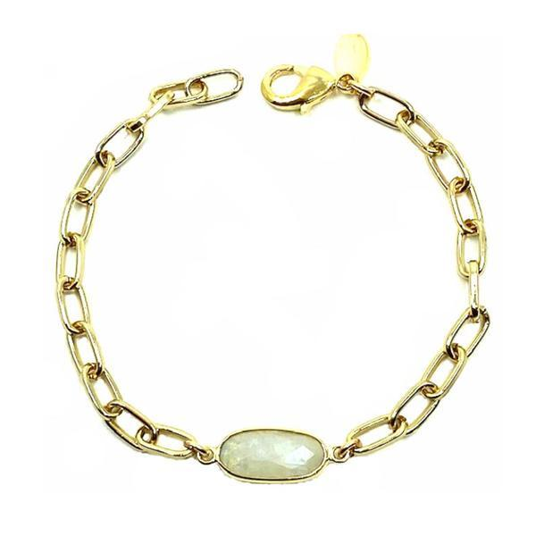 Link Gold Plated Bracelet With Moonstone Stone: (PBCG478MN) Bracelet athenadesigns Moonstone : PBCG478MN