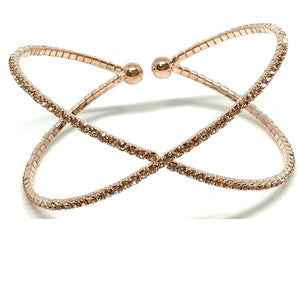Rose Gold 'X' Crystal Cuff Bracelet (BRGX/405) Fashion Bracelet athenadesigns