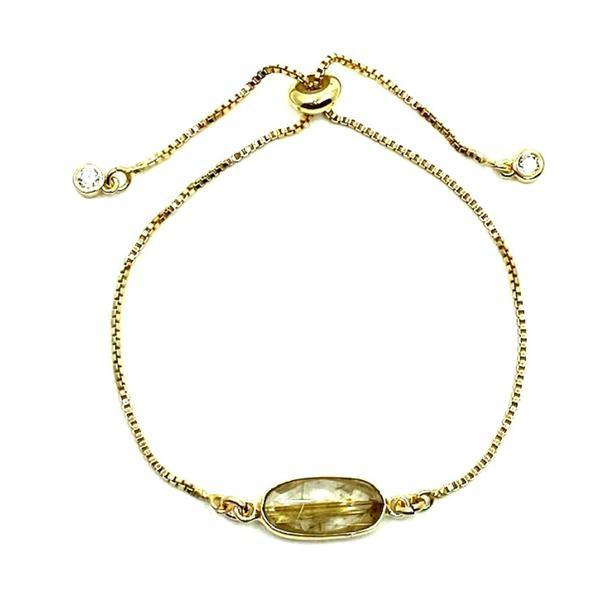 Pull Chain Bracelet: Rectangular Rutilated Quartz (PBT780RQZ) Bracelet athenadesigns