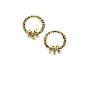 Open Circle Pave Stud Earring with 3 Interlocking Circles: Gold Vermeil (EGP4566) Earrings athenadesigns Gold