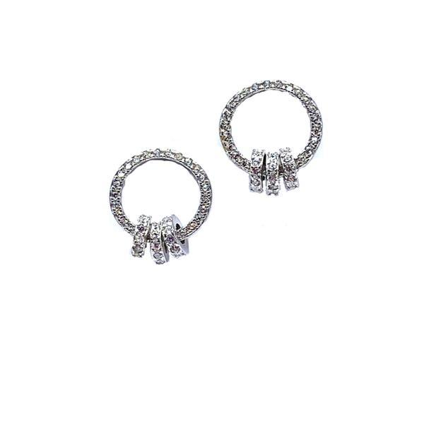 Open Circle Pave Stud Earring with 3 Interlocking Circles: Sterling Silver (EP4566) Earrings athenadesigns