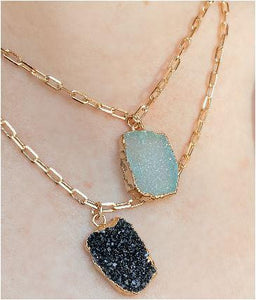 Electroform Pendant on Gold Fill Link Chain: Aqua Druzy (NGCP749DZQ) Necklaces athenadesigns