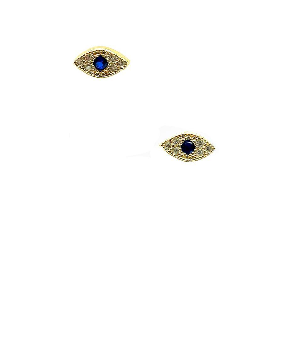 Evil Eye Micropave Stud: Gold Vermeil (EGP4058) Earrings athenadesigns