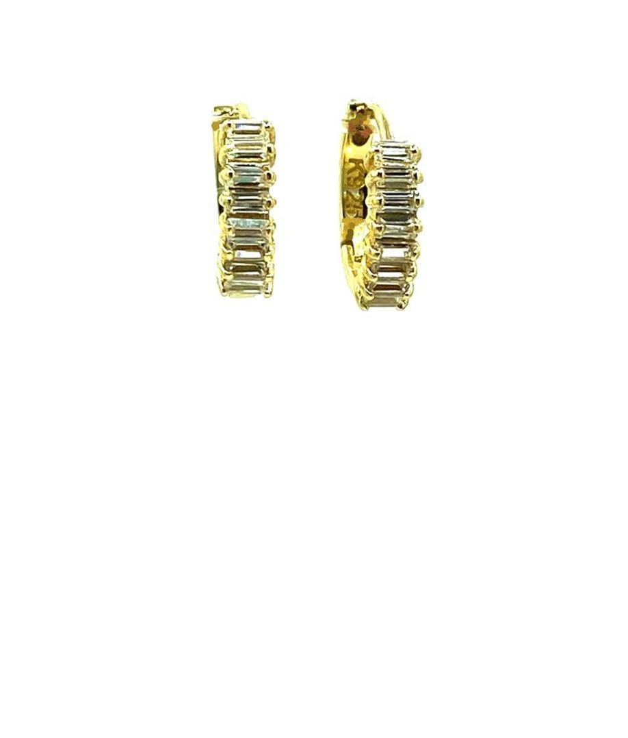 Tiny Huggie With CZ Baguettes: Gold Vermeil (EGH458) Earrings athenadesigns