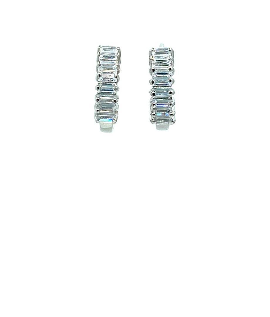 Tiny Huggie With CZ Baguettes: Sterling (EH458) Earrings athenadesigns