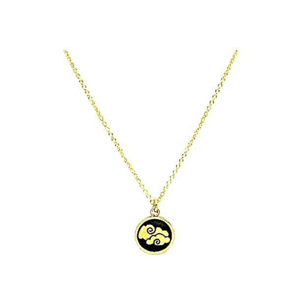 Elements: Air Symbol on Natural Bronze with Gold Fill Chain (NGCP46AIR) Necklaces athenadesigns