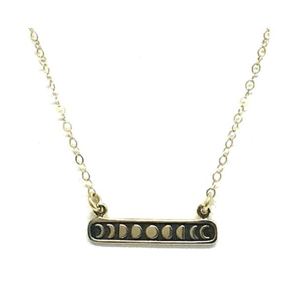 Mixed Metal: Bronze Bar Moon Phase: Gold Fill Chain (NCGP48MN) Necklaces athenadesigns