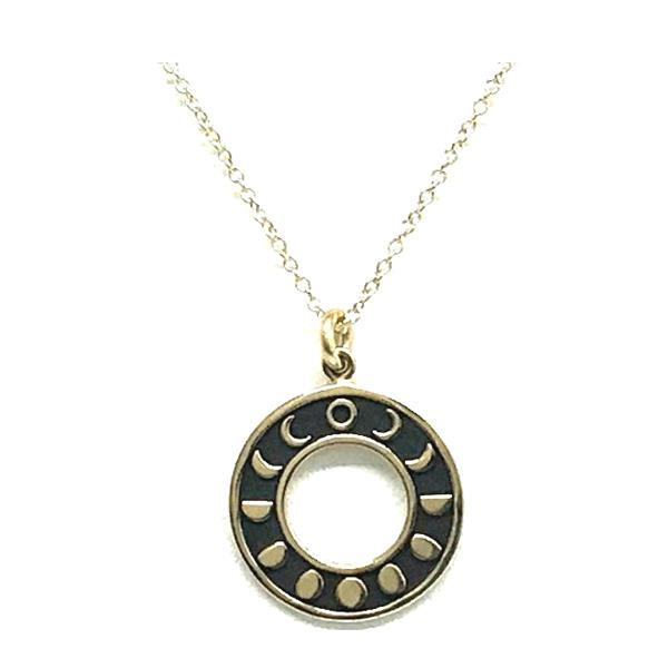 Mixed Metal: Bronze Round Moon Phase: Gold Fill Chain (NCGP460MN) Necklaces athenadesigns