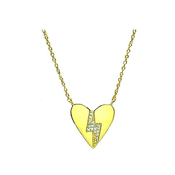 Heart: Gold Vermeil With Lightening Bolt (NGCP45HRTL) Necklaces athenadesigns