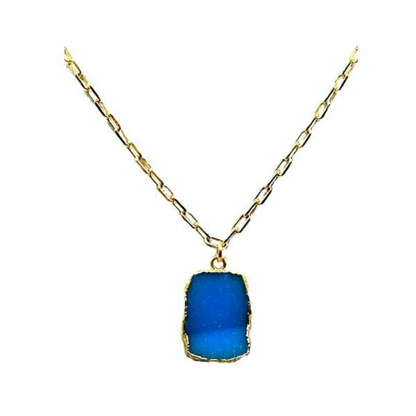 Electroform Pendant on Gold Fill Link Chain: Blue Druzy (NGCP749DZB) Necklaces athenadesigns