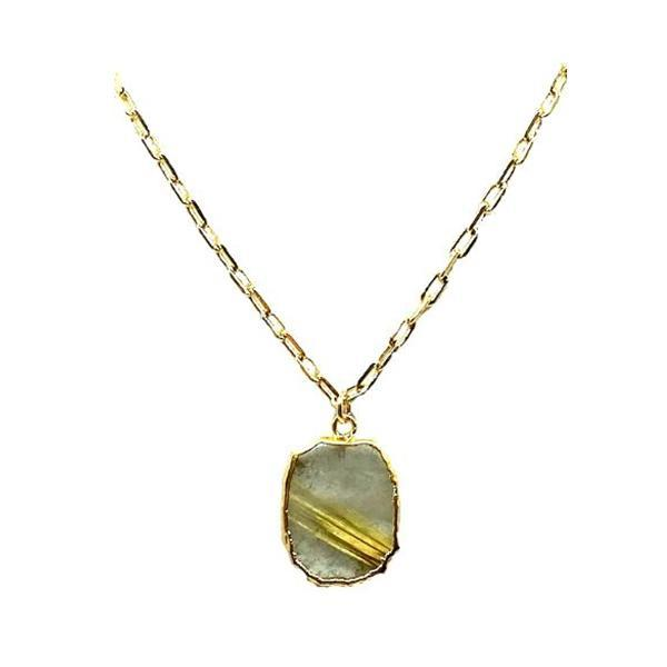 Electroform Pendant on Gold Fill Link Chain: Rutilated Quartz (NGCP749RQZ) Necklaces athenadesigns