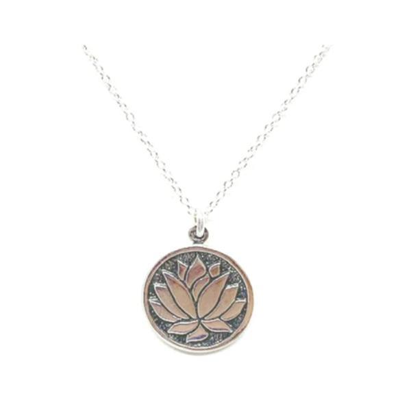 Etched Lotus Pendant Necklace: Sterling Silver (NCP46LTS) Necklaces athenadesigns